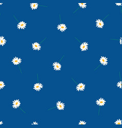 daisy flowers on blue background seamless vector image