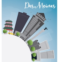 Des Moines Skyline with Grey Buildings vector image