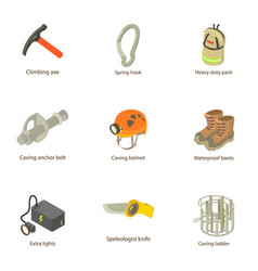 digger icons set isometric style vector image