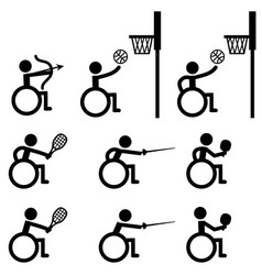 Disable handicap sport icons archery basketball vector