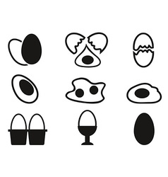 egg icons set vector image