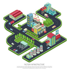 factory infrastructure isometric composition vector image