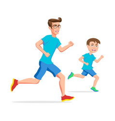 family sport father and son running or jogging vector image