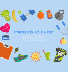 fitness gym cardio healthy diet and lifestyle vector image