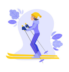 flat girl goggles skiing outdoors in winter vector image