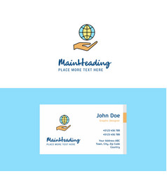 Flat safe world logo and visiting card template vector