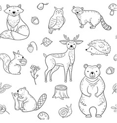 forest animals seamless pattern fox owl raccoon vector image