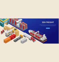 Freight transport in cargo port vector