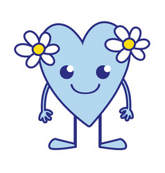 full color smile heart with flowers kawaii with vector image