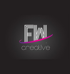 fw f w letter logo with lines design and purple vector image