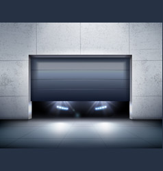 Garage and car realistic background vector
