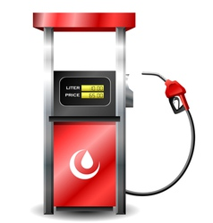 Gas station pump with fuel nozzle vector