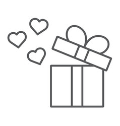 Gift thin line icon love and package gift box vector