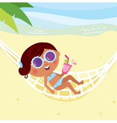 girl lying in hammock vector image