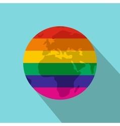 Globe Rainbow flat icon vector