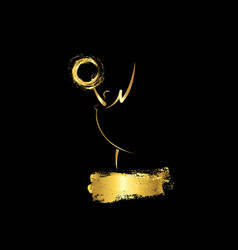 Golden stars prize concept emmy award statue icon vector
