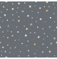 Hand drawn seamless pattern with night sky and vector image