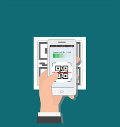 hand holding mobile phone scanning qr code from vector image