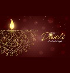 Happy diwali light festival card gold hindu candle vector