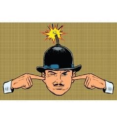 Head bomb concept a terrorist and spy vector