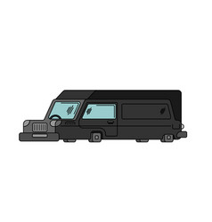 Hearse contour style isolated carriage of corpses vector