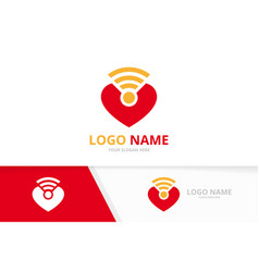 heart and wifi logo combination love signal vector image