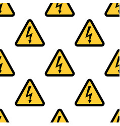 high voltage sign seamless pattern on white vector image