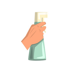 Human hand holding plastic spray bottle with vector