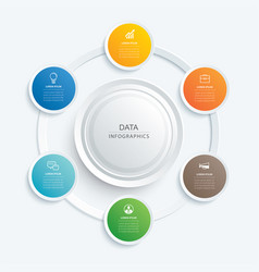 Infographics circle button with 6 data template vector