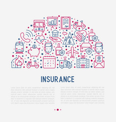insurance concept in half circle vector image
