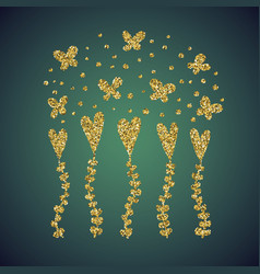 Jewelry gold glitter of love heart flower vector