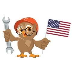 Labor Day USA Owl holding wrench and American vector image