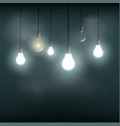 Light bulbs hanging on wires vector