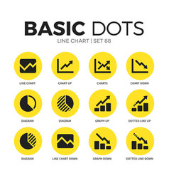 Line chart flat icons set vector