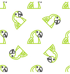 Line macaw parrot bird animal icon isolated vector