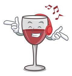 Listening music wine mascot cartoon style vector