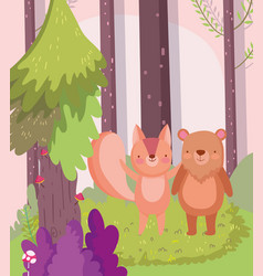 little teddy bear and squirrel cartoon character vector image