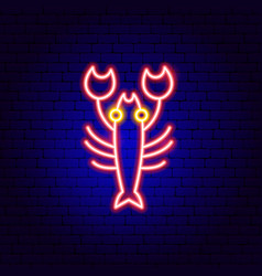 lobster neon sign vector image