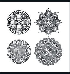 mandale monochrome art set styles vector image