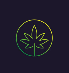 Marijuana leaf cannabis linear icon vector