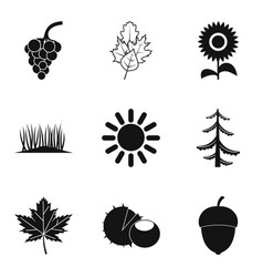 Natural intervention icons set simple style vector