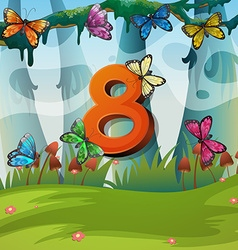 Number eight with 8 butterflies in garden vector