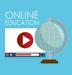 On line education with world planet vector