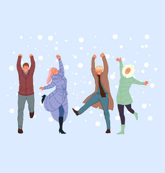 Outside walk with friends winter entertainment vector