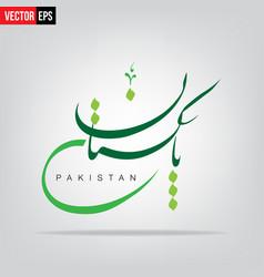 Pakistan written in urdu language with grey vector