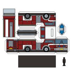 Paper model a classic fire truck vector