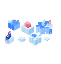 partnership team working isometric vector image