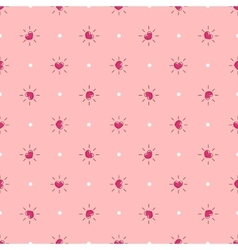 pink hearts with rays seamless pattern vector image