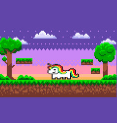 Pixel character unicorn with colorful hair vector