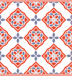 Portuguese azulejo tiles red and white gorgeous vector